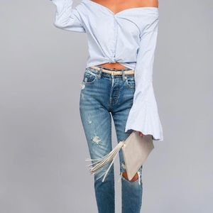 NWT Lulus off the should flutter open sleeve top